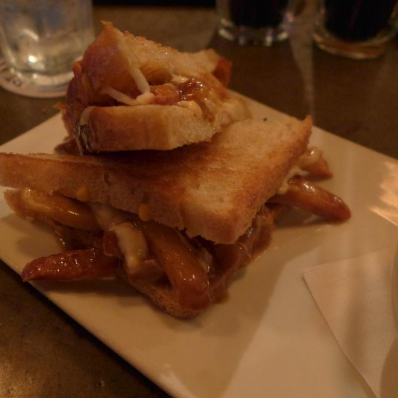L'Gros Luxe Grilled Sandwich with Poutine