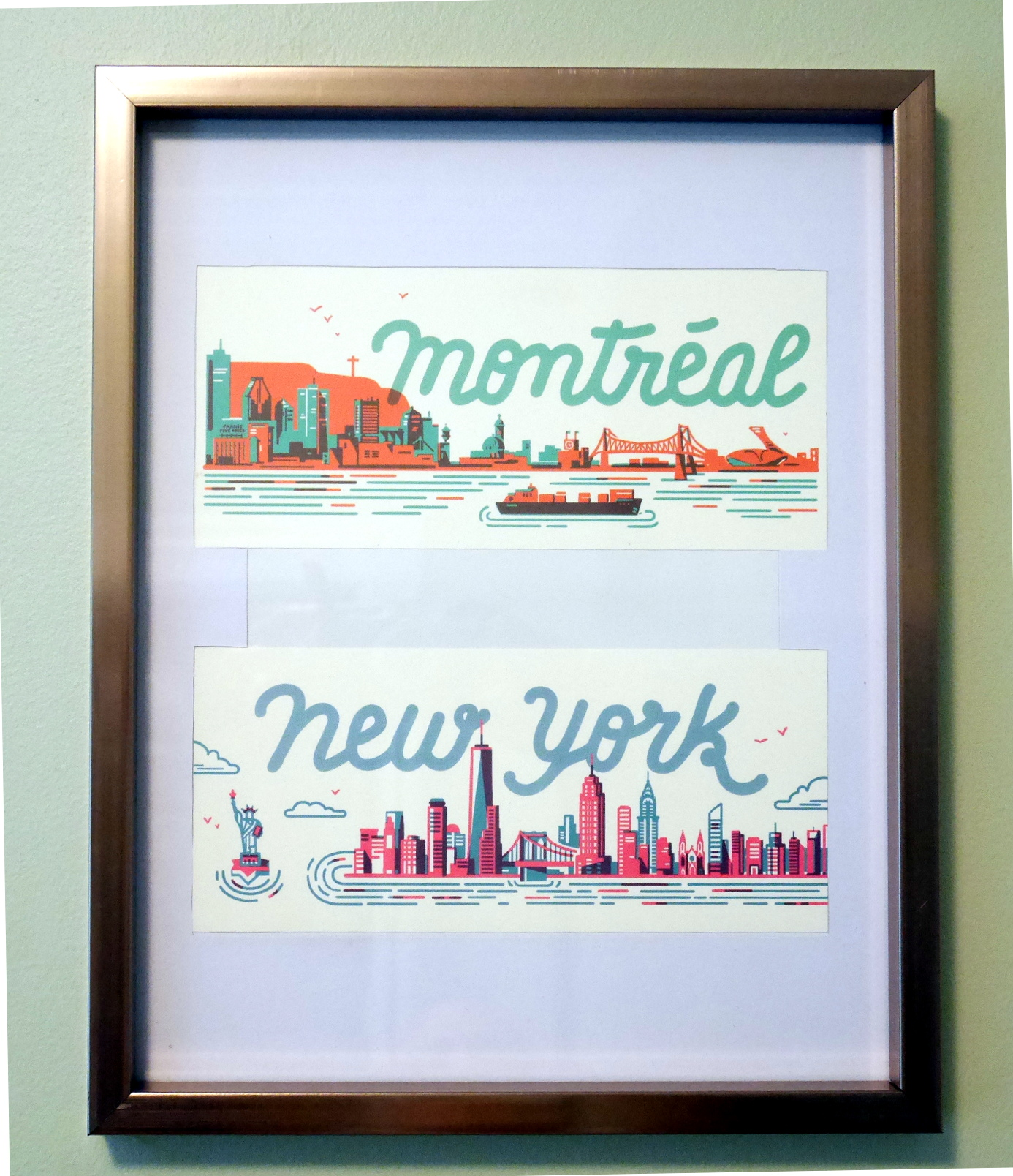 Montreal & New York skylines, postcards.